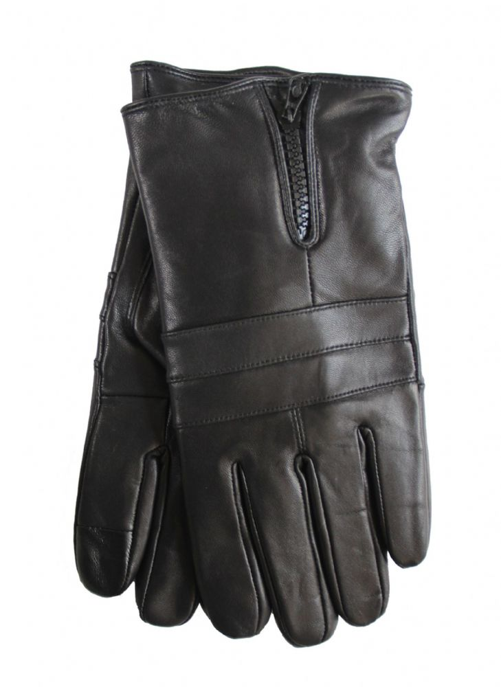 Mens genuine leather touch black zipper style leather gloves